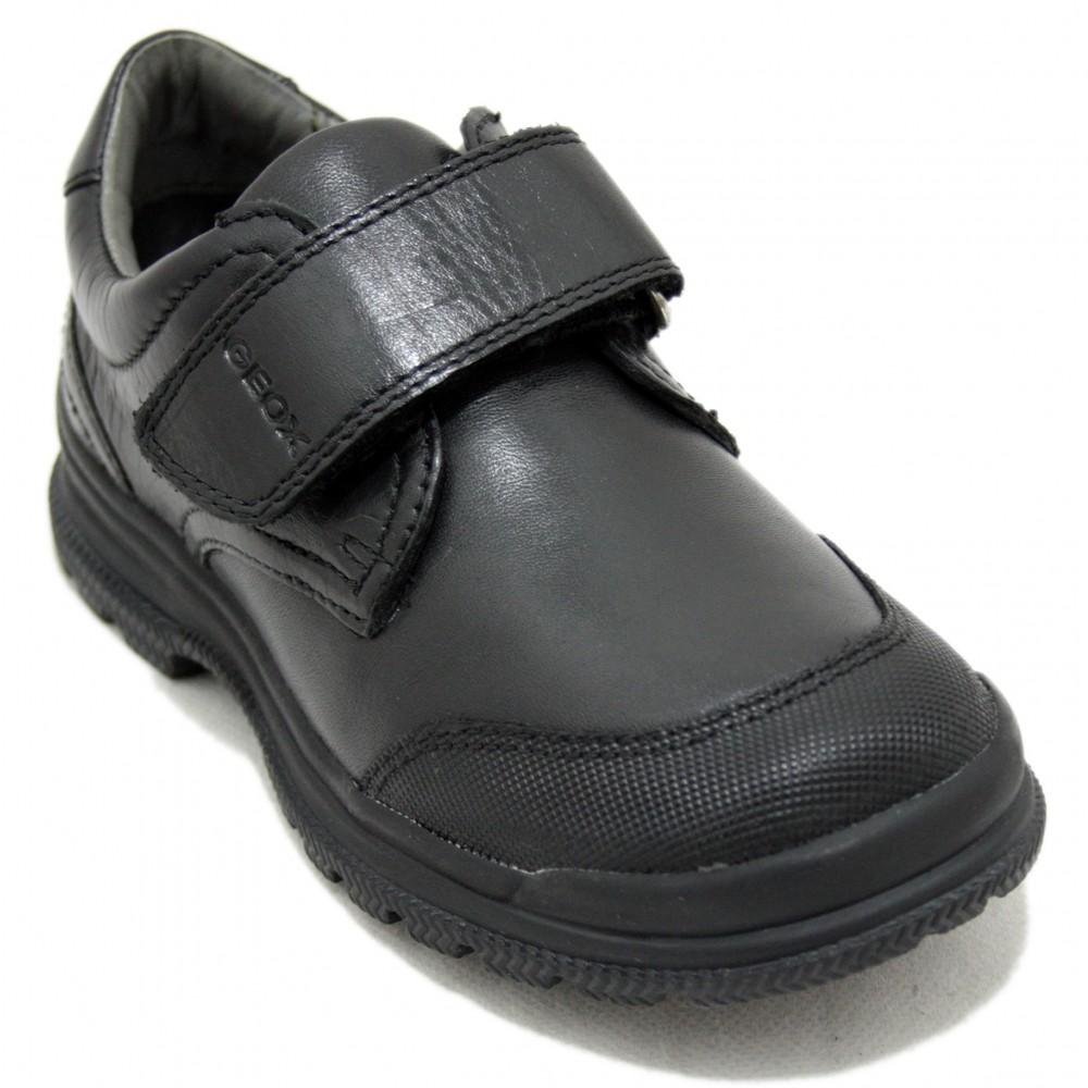 Opcional clérigo Huerta  Geox William - Zapatos Colegiales Negros para Niños, Piel y Velcro Talla 32  Color Negro